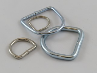 'D' Ring, Nickel plated steel, welded, per 100