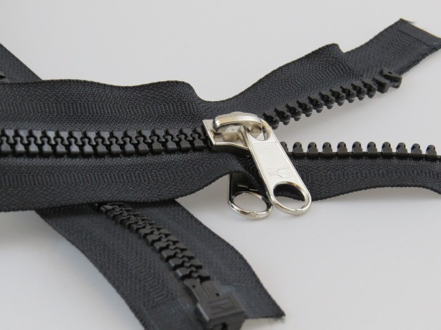 Moulded Zip 8mm Open Ended, with a Single, Twin Tab, Non-lock Slider