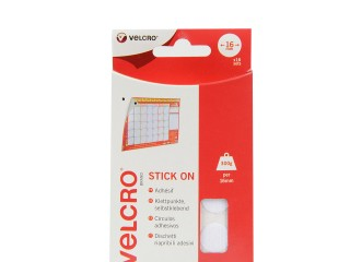 VELCRO® Brand 16mm Stick On Coins x 16 Sets - White