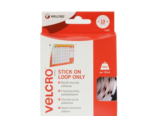 VELCRO® Brand 19mm Stick On Loop Coins x 125 - White