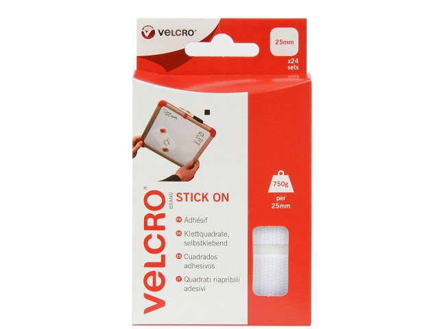 VELCRO® Brand 25mm Stick On  Squares x 24 Sets - White