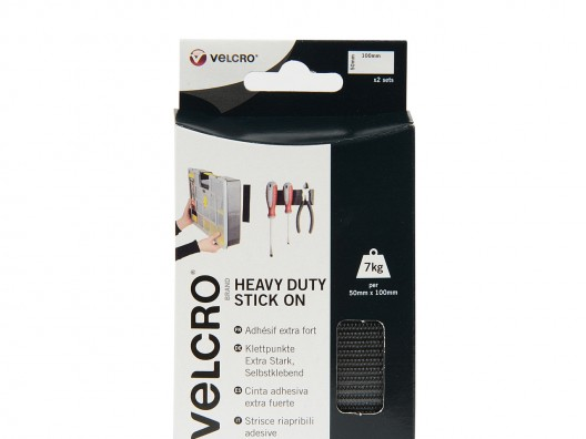 VELCRO® Brand Heavy Duty Stick On 50mm x 100mm - Black