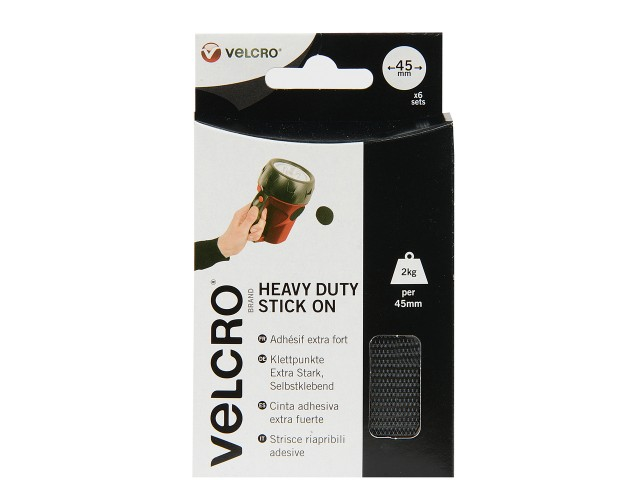 VELCRO® Brand 45mm Heavy Duty Stick On Coins x 6 sets-Black