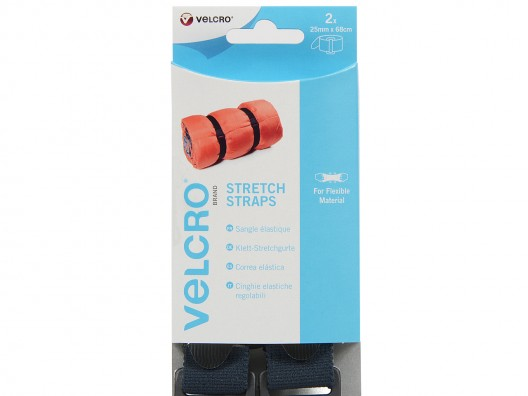 VELCRO© Brand 25mm x 68cm (set of 2) Stretch Strap - Black